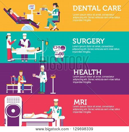 Banners set of clinic dental, surgery, health care and medical examination doctor collection concept. Vector business medicine flat icons in retro style background design