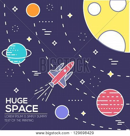 Outer space rocket flying flying to the moon background. Set of huge space infographic universe illustration. Vector thin lines icons stars in galaxy design concept.