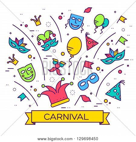 Celebration festival holiday party equipment thin lines illustrationss set. Vector masquerade carnival collection design illustrations concept