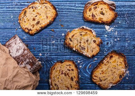 Stollen, traditional sweet cake with dried fruits and nuts
