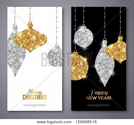Merry Christmas and Happy New Year Flyers. Background with Silver and Gold Hanging Baubles. Vector illustration. Gold Glitter Texture. Sequins Pattern. Glowing Invitation Template.