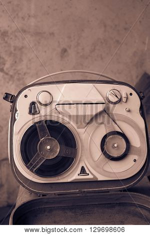 Reel tape recorder. Close up of old reel to reel recording machine.