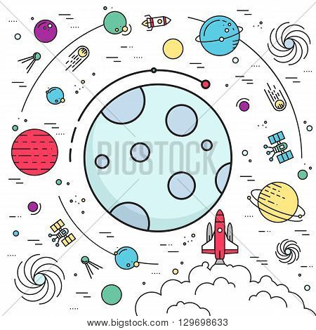 Outer space rocket flying flying to the moon background. Set of huge space infographic universe illustration. Vector thin lines icons stars in galaxy design