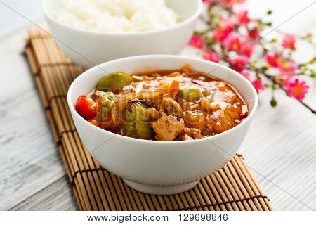 sweet and sour vegetables and soy chunks