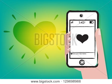 Dating online or Liking someone's picture. Editable Clip art.