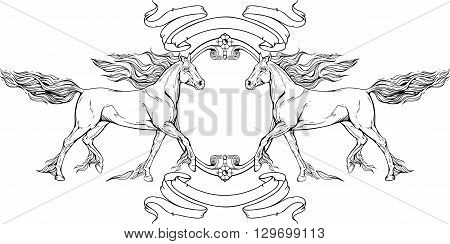 Image of two horses, frame and ribbons.