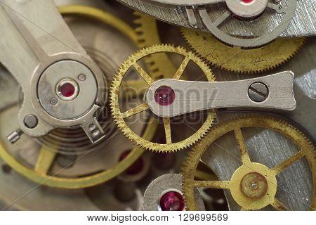 inside the clock close-up macro vintage clockworks