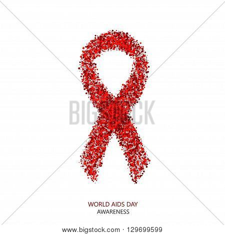 Vector modern AIDS awareness circles desigen. Red ribbon isolated on white background