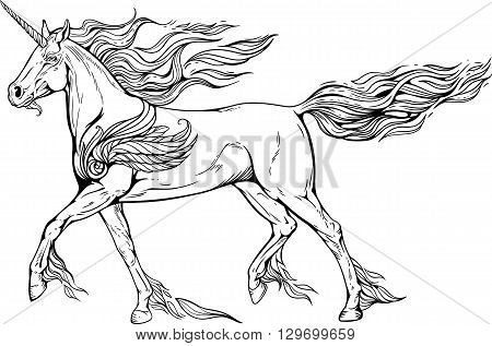 Image of unicorn with mane and tail of flames of fire.
