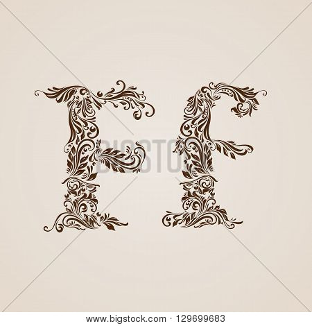 Handsomely decorated letter f in upper and lower case.