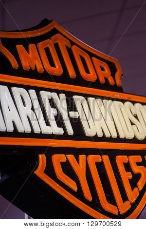 Bucharest Romania - May 7 2016: Color image of the Harley-Davidson motorcycles logo in Bucharest Romania.Harley-Davidson Inc. is an American motorcycle manufacturer founded in Milwaukee Wisconsin.