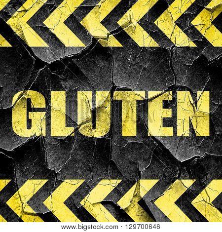 gluten, black and yellow rough hazard stripes