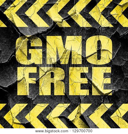 gmo free, black and yellow rough hazard stripes