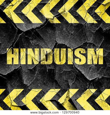 hinduism, black and yellow rough hazard stripes