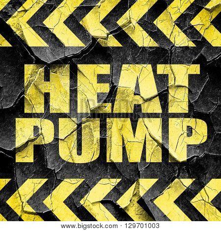 heat pump, black and yellow rough hazard stripes