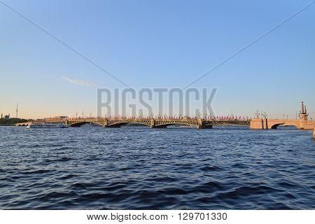 Trinity Bridge On Neva River At Sunset