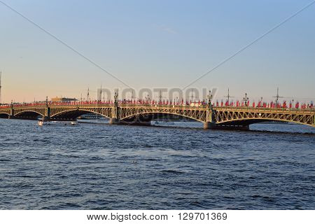 Boat Floats Neva River At Trinity Bridge