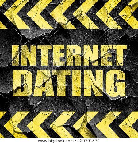 internet dating, black and yellow rough hazard stripes