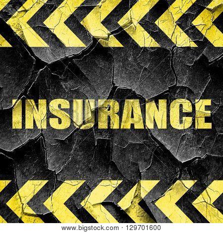 insurance, black and yellow rough hazard stripes