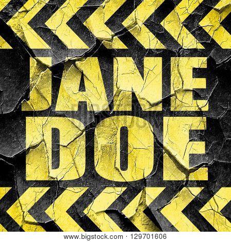 jane doe, black and yellow rough hazard stripes