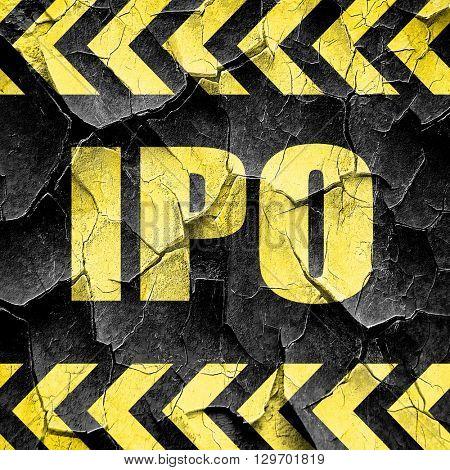 ipo, black and yellow rough hazard stripes