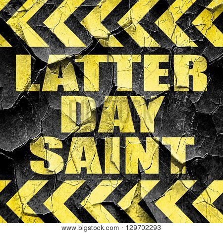 latter day saint, black and yellow rough hazard stripes