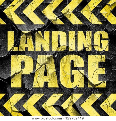 landing page, black and yellow rough hazard stripes