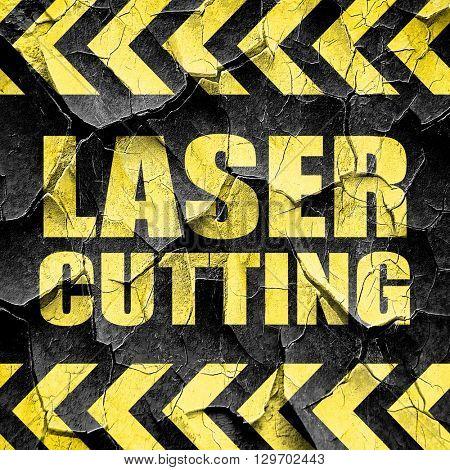 laser cutting, black and yellow rough hazard stripes