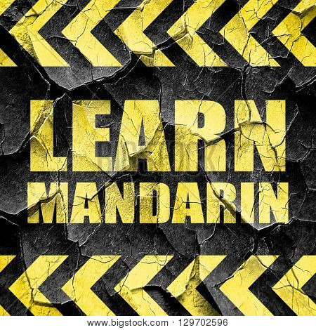 learn mandarin, black and yellow rough hazard stripes