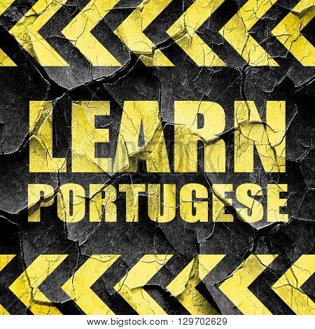 learn portugese, black and yellow rough hazard stripes