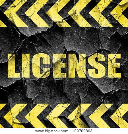 license, black and yellow rough hazard stripes