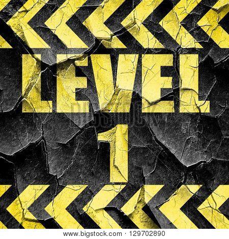 level 1, black and yellow rough hazard stripes