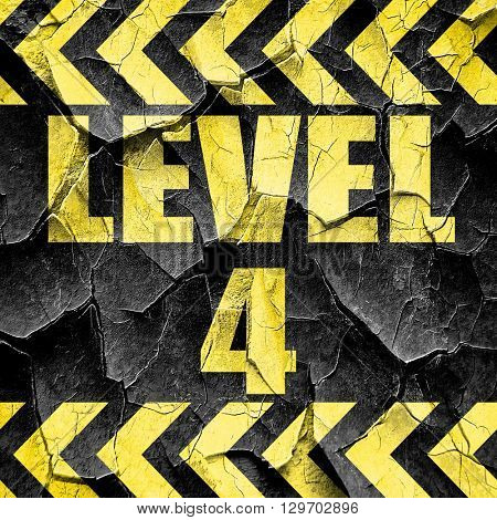 level 4, black and yellow rough hazard stripes