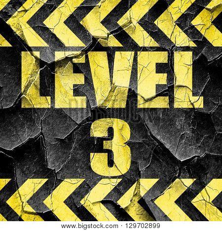 level 3, black and yellow rough hazard stripes