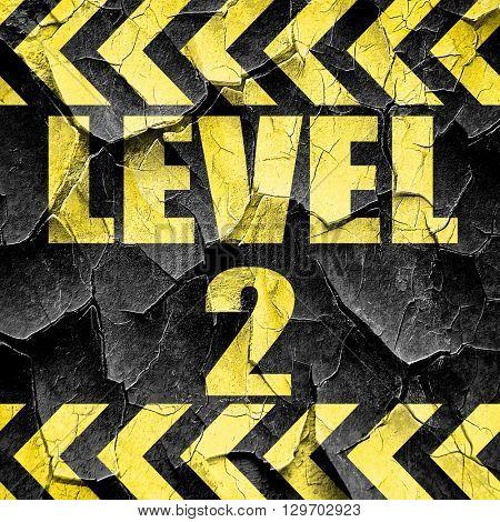 level 2, black and yellow rough hazard stripes