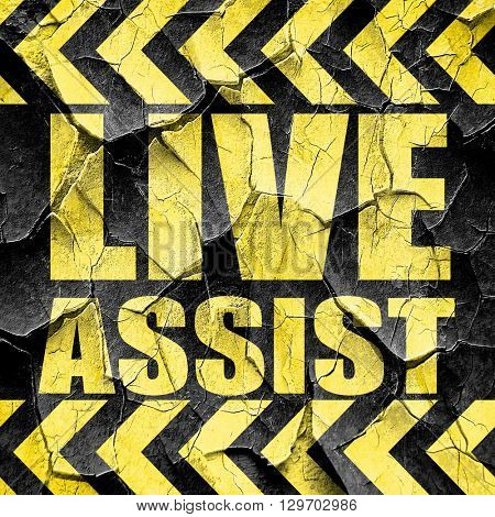 live assist, black and yellow rough hazard stripes