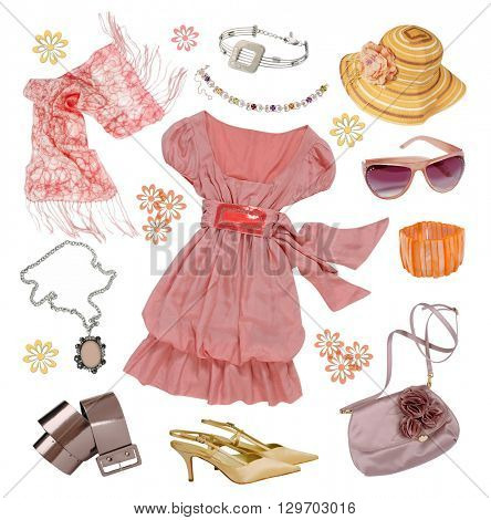 collection of women's summer clothes isolated on white background