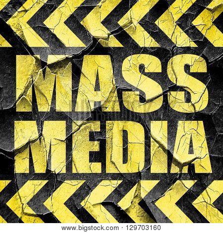 mass media, black and yellow rough hazard stripes