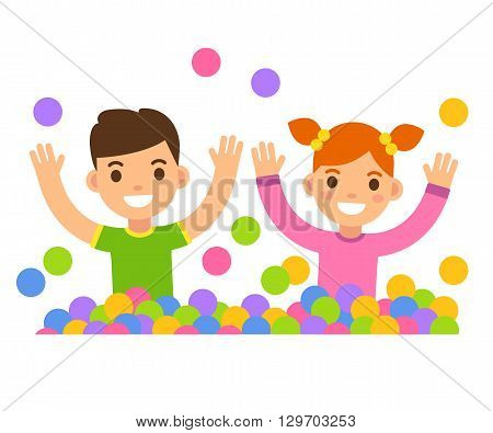 Children in ball pit illustration. Cute cartoon boy and girl playing in a ball pit.