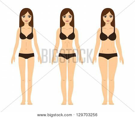 Female body types: skinny (underweight) fit (hourglass figure) and thick (with abdominal fat). Cute girls in underwear.