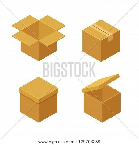 Boxes and packaging icon set. Closed and open isometric cardboard boxes. Flat vector illustration.