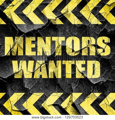 mentors wanted, black and yellow rough hazard stripes