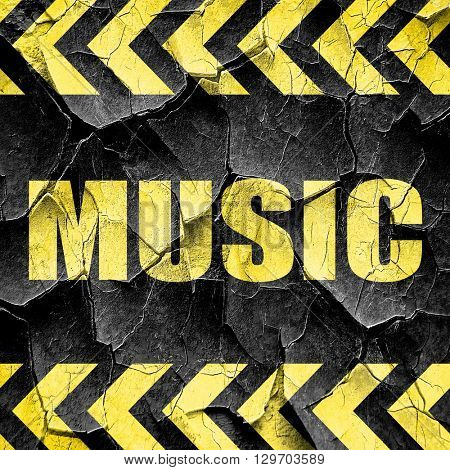 music, black and yellow rough hazard stripes
