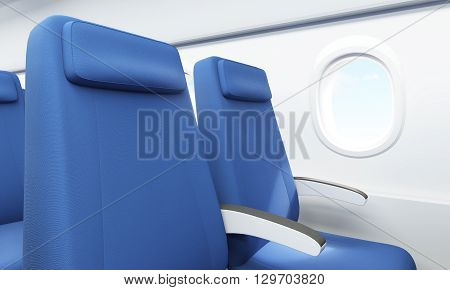 Closeup of blue seats in airplane interior with white wall and porthole with sky view. 3D Rendering