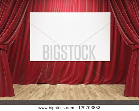 Theater Stage With Banner