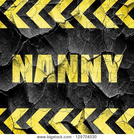 nanny, black and yellow rough hazard stripes
