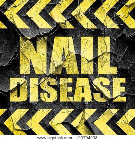 nail disease, black and yellow rough hazard stripes