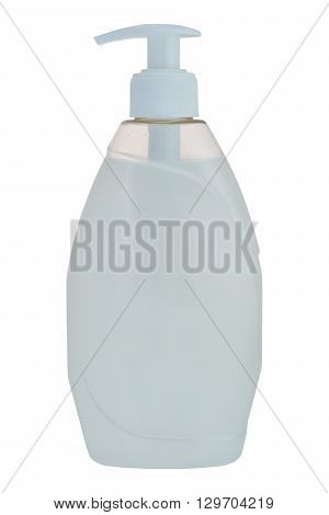 Plastic liquid soap bottle isolated on a white background