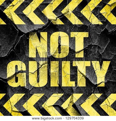 not guilty, black and yellow rough hazard stripes