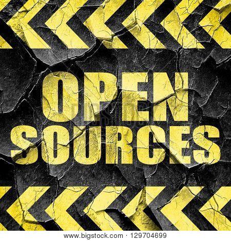 open sources, black and yellow rough hazard stripes